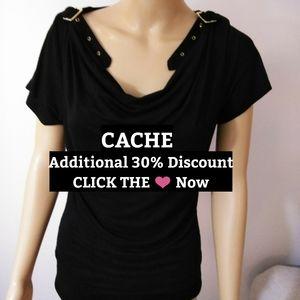 Cache black Top, Belted shoulders Sz Sm